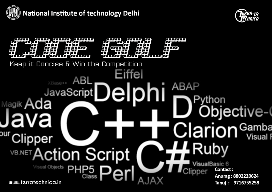 NITD Code Golf | Programming challenges in March, 2018 on